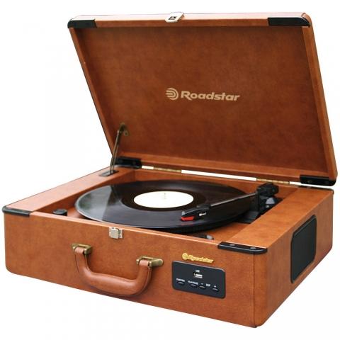 Roadstar TTR-730U Retro HiFi Koffer Vintage Plattenspieler mit Radio, USB/MP3