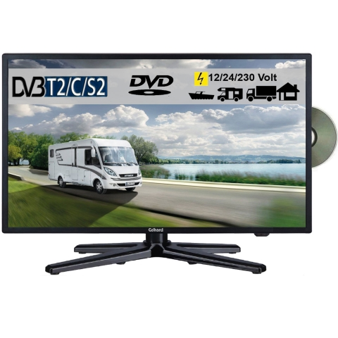 Gelhard GTV2082PVR LED 20 Zoll Wide Screen TV DVD DVB/S/S2/T2/C 12/24/230 Volt mit PVR-Funktion
