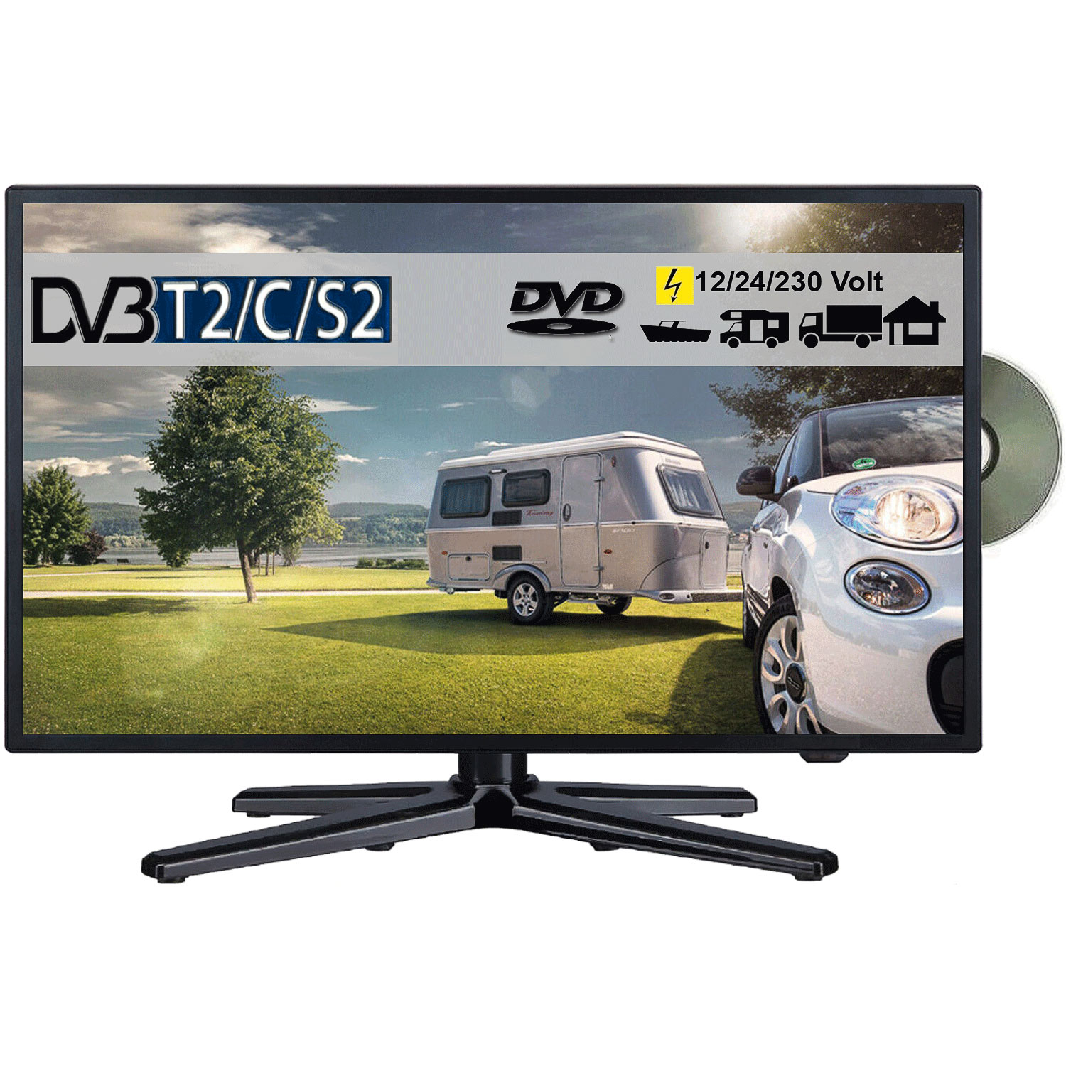 reflexion ldd 197 led full hd fernseher 19 zoll 48 cm tv mit dvb s2 c t dvd 12v. Black Bedroom Furniture Sets. Home Design Ideas