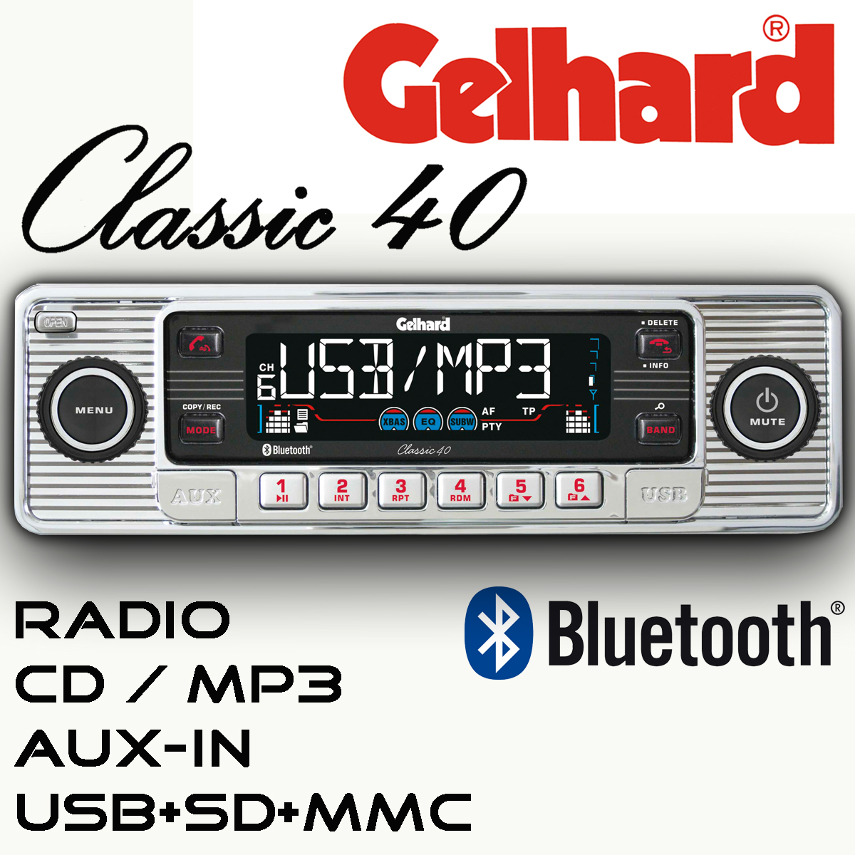 gelhard classic 40 silber rds autoradio cd mp3 usb sd. Black Bedroom Furniture Sets. Home Design Ideas