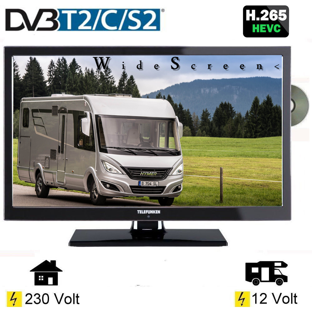 wohnmobil campig fernseher 22 zoll dvb s s2 t2 c dvd usb. Black Bedroom Furniture Sets. Home Design Ideas