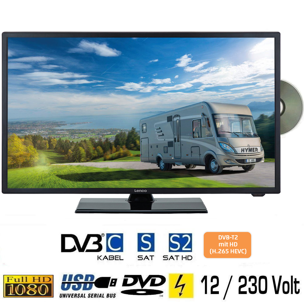 lenco dvl2460 led tv 24 zoll dvd fernseher dvb s s2 c t2 f r 12v u 230volt ebay. Black Bedroom Furniture Sets. Home Design Ideas