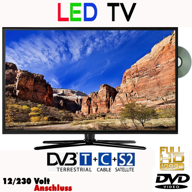 led fernseher 23 6 zoll 59 9 cm tv mit dvb s2 c t dvd 12. Black Bedroom Furniture Sets. Home Design Ideas