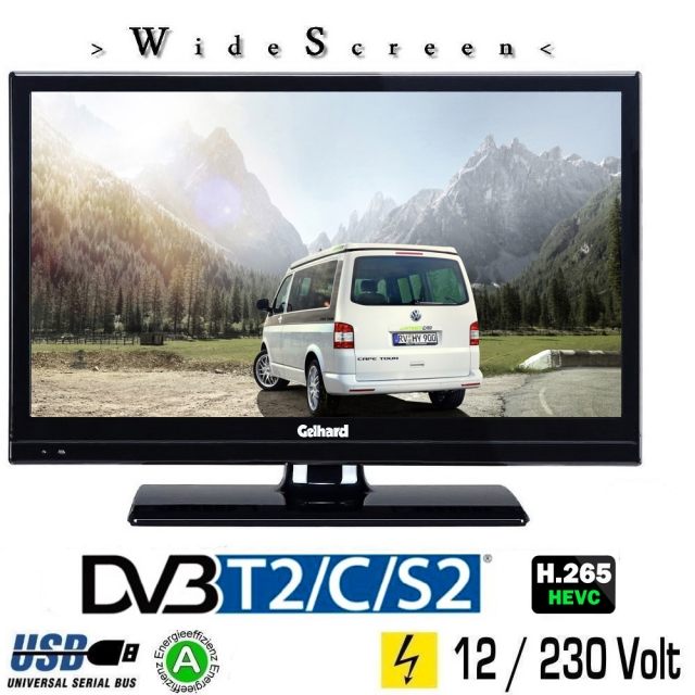 Gelhard GTV2021 LED TV 20 Zoll Wide Screen DVB/S/S2/T2/C, USB, 230 / 12 Volt