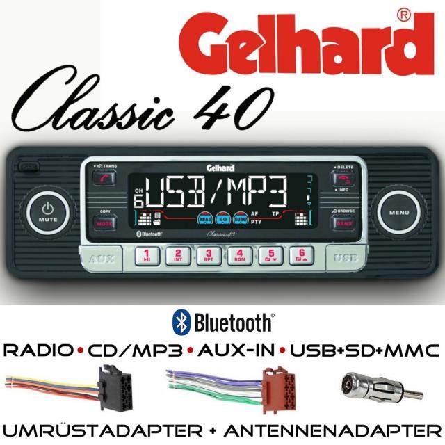 gelhard classic 40 in schwarz rds autoradio cd mp3 tv. Black Bedroom Furniture Sets. Home Design Ideas