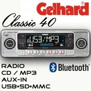 Gelhard Classic 40 silber   RDS Autoradio CD MP3 USB SD + Bluetooth Freisprecheinrichtung