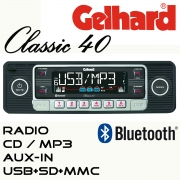 Gelhard Classic 40 schwarz   RDS Autoradio CD MP3 USB SD + Bluetooth Freisprech
